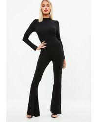 Missguided Black Flared Leg Jersey Jumpsuit