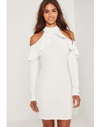 Missguided Frill Cold Shoulder Long Sleeve Dress White