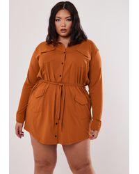 Missguided Size Orange Utility Shirt Dress