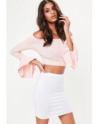 Missguided White Jersey Mini Skirt