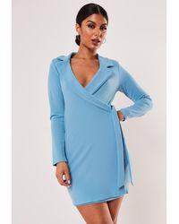 Missguided Blue Stretch Wrap Blazer Dress