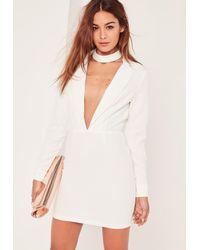 Missguided - White Plunge Long Sleeve Choker Neck Blazer Dress - Lyst
