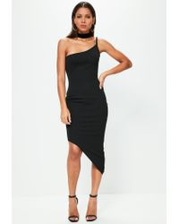 Missguided Tall Exclusive Black One Strap Asymmetrical Dress