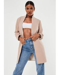 Missguided Blue Stand Collar Coat