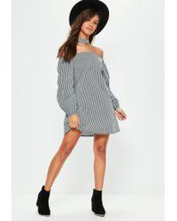 Missguided Black Puffed Sleeve Choker Neck Bardot Dress