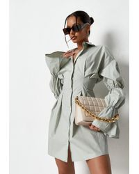 Missguided Green Sage Bubble Sleeve Pleated Shirt Dress