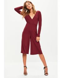 d0966928397 Missguided Burgundy Jersey Wrap Culotte Jumpsuit in Red - Lyst