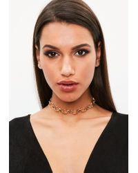 Missguided - Metallic Gold Chain Choker Necklace - Lyst