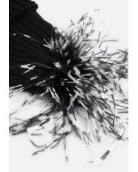 Missguided - Black Feather Pom Pom Beanie - Lyst