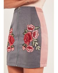 Missguided Gray Grey Zip Through Rose Embroidered Satin Mini Skirt