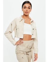 Missguided Natural Nude Denim Cropped Jacket