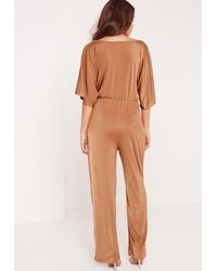 290ad8a52c Missguided Slinky Kimono Sleeve Knot Front Jumpsuit Tan in Brown - Lyst