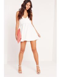 Missguided Strappy Plunge Skater Dress White