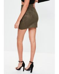 Missguided - Multicolor Khaki Faux Suede Wrap Mini Skirt - Lyst