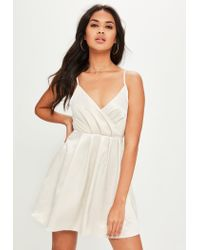 Missguided Nude Satin Pleat Front Skater Dress in Natural - Lyst dcd6e77b9