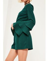 Missguided - Green Triple Frill Sleeve Romper - Lyst