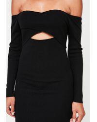Missguided - Black Cross Front Bardot Mini Dress - Lyst