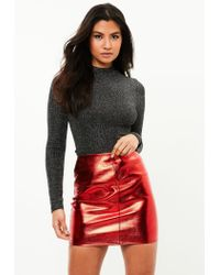Lyst - Missguided Red Metallic Faux Leather Mini Skirt in Red 0e504899ae1ae
