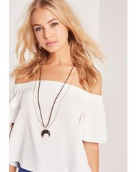Missguided - Metallic Moon Pendant Necklace Gold - Lyst