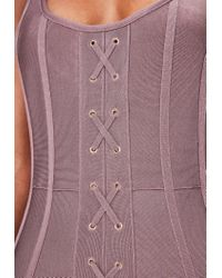 Missguided Pink Strappy Criss Cross Front Bandage Dress