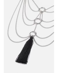 Missguided - Metallic Silver Multi Row Tassel Chain Necklace - Lyst
