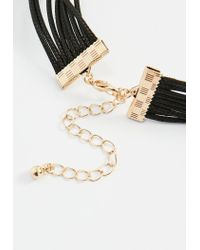 Missguided - Black 3 Gem Tie Up Choker Necklace - Lyst