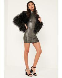 Missguided Petite Exclusive Metallic Black Mini Dress