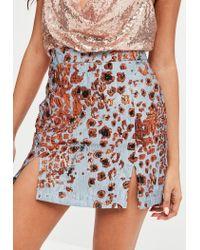 Missguided Blue Leopard Jacquard Print Mini Skirt
