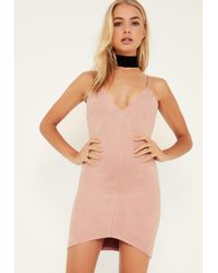 Missguided Pink Bonded Faux Suede Strappy Bodycon Dress