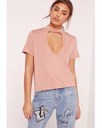Missguided Choker Neck T Shirt Pink