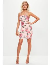 Missguided Pink Strappy Bodycon Dress