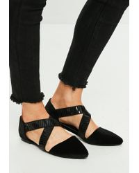 Missguided Black Elasticated Cross Strap Pointed Flat Shoes