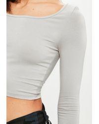 Missguided - Gray Grey Long Sleeve Scoop Neck Crop Top - Lyst