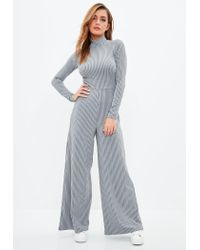 da11d43deb1 Missguided Grey Rib High Neck Wide Leg Jumpsuit in Gray - Lyst