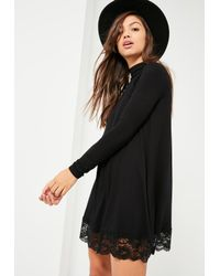 Missguided - Black High Neck Lace Trim Long Sleeve Swing Dress - Lyst