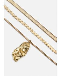 Missguided Metallic Gold Triple Snake Chain Pendant Necklace