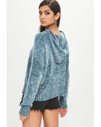 Missguided - Blue Slouchy Chenille Knitted Hoodie - Lyst