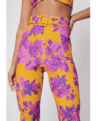 Missguided Pink Floral Co Ord Belted Cigarette Trousers