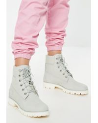 Missguided Timberland Blue Flower Nubuck Heritage Lite 6 Inch Boots