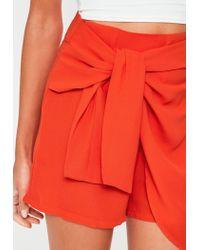Missguided - Orange Chiffon Tie Front Skort - Lyst