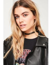 Missguided - Black Diamante Skinny Choker Necklace - Lyst
