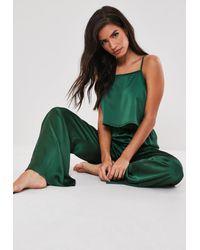 Missguided Green Satin Pyjama Bottoms