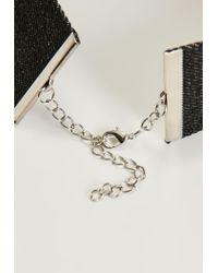 Missguided - Black Denim Diamante Choker Necklace - Lyst
