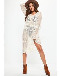 99354d7ab11e Missguided Tall White Lace Crochet Long Sleeve Midi Dress in White ...