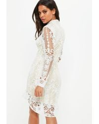 Missguided Natural Nude Lace Flippy Hem Flare Sleeve Bodycon Dress