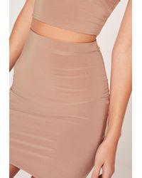 Missguided Multicolor Slinky Mini Skirt Nude