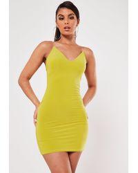 Missguided Green Slinky Strappy Mini Dress