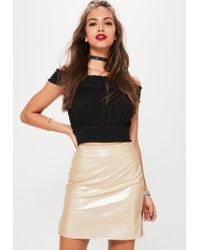 Missguided - Natural Nude Shine Ringpull Faux Leather Mini Skirt - Lyst