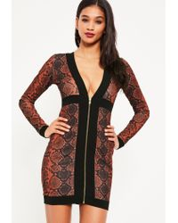 Missguided - Red Crepe Snake Zip Detail Bodycon Dress - Lyst