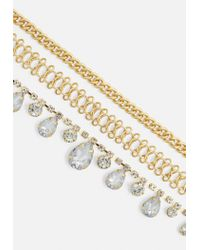Missguided - Metallic Gold Multi Row Crystal Choker Necklace - Lyst